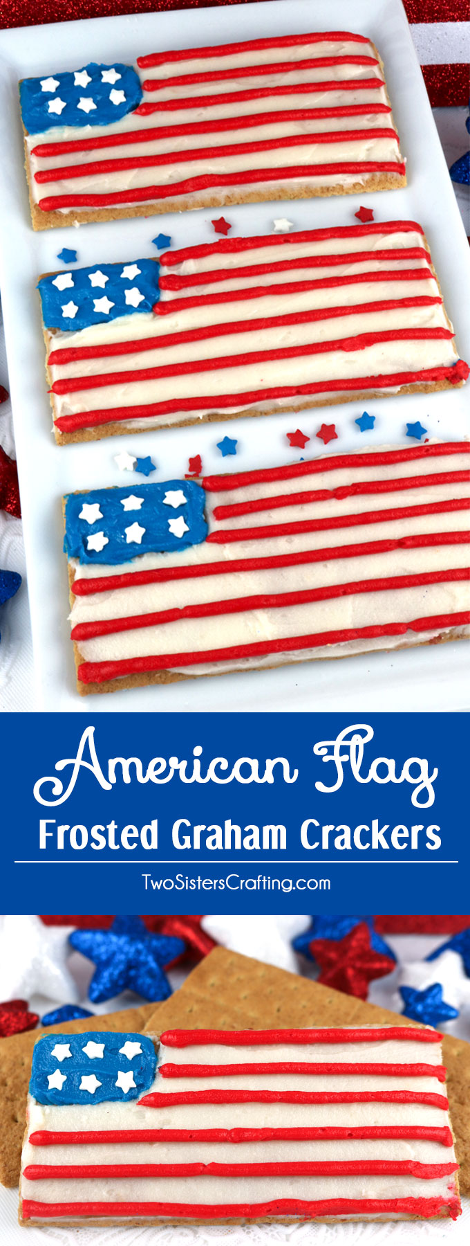 American Flag Frosted Graham Crackers - Two Sisters Crafting